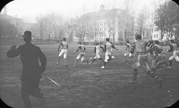 Football game on campus, McGill University, Montreal, QC, about 1900. Anonymous. Flickr. Notman photographic Archives - McCord Museum.